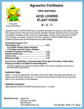 Acid Lovers Plant Food (100% All Natural)