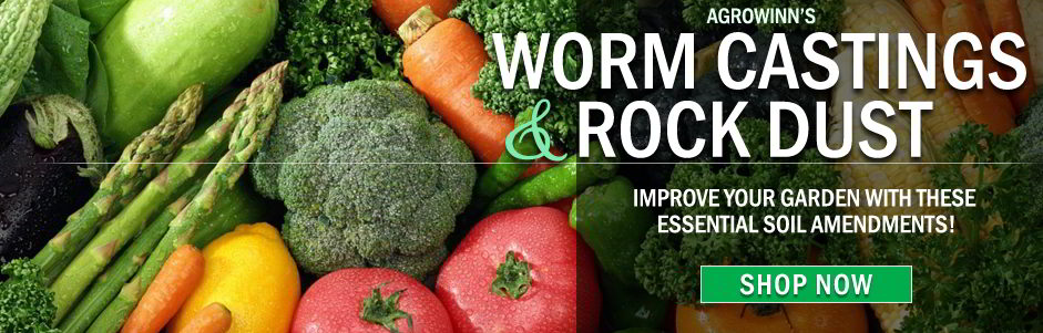 Agrowin's Worm Castings and Rock Dust. Improve your garden with these essential soil amendments.